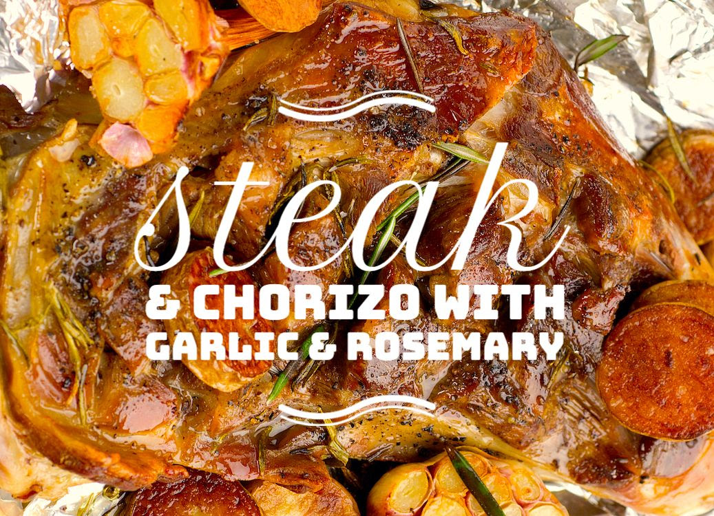 STEAK WITH GARLIC AND ROSEMARY