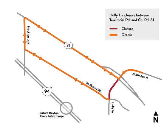 Holly Lane closure between Territorial Road and County Road 81 detour map