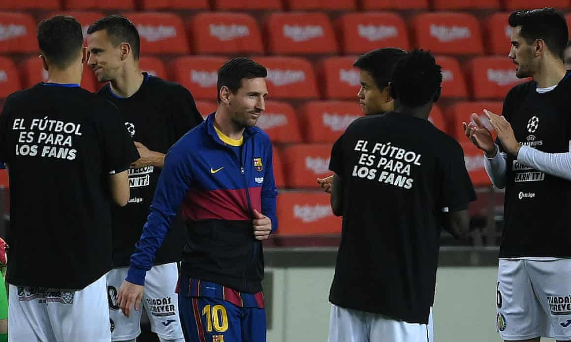 Lionel Messi about to tear Getafe and their 'football is for the fans' T-shirts a new one.