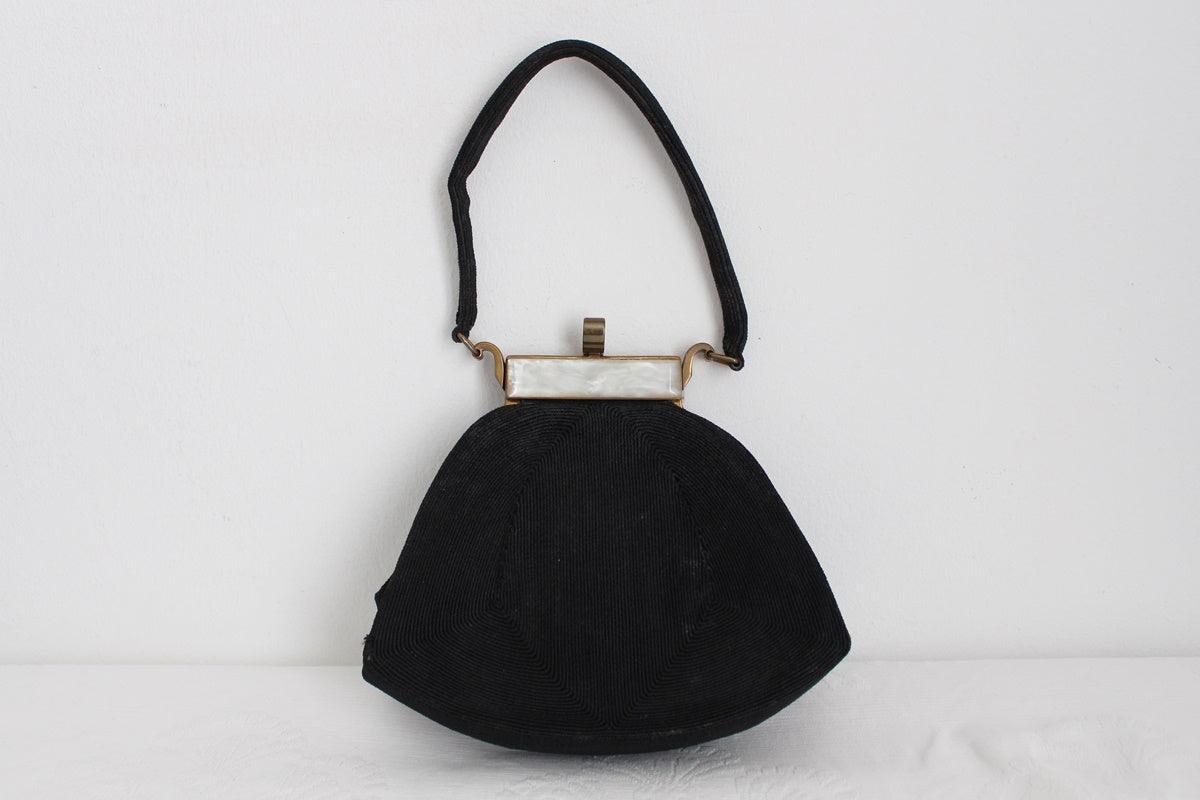 ART DECO VINTAGE CORDE ENGLAND BLACK EVENING BAG