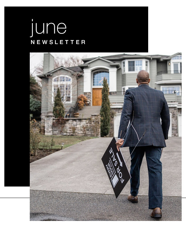June Newsletter Broker Walking with Sold Sign