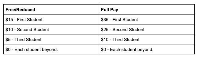 Updated fees