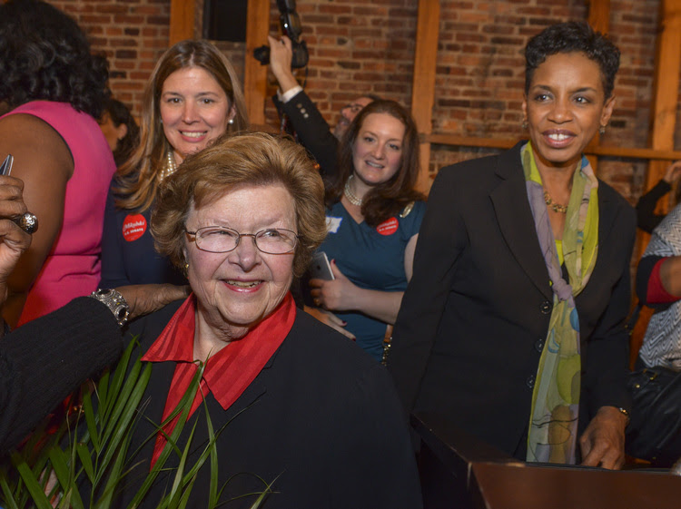 Barbara Mikulski, center left, is neutral in the primary. At a Maryland Democratic Party reception in her honor last fall, that's Donna Edwards on the right. (Photo by Bill O'Leary/The Washington Post)</p>