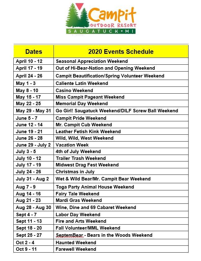 2020 Campit Events Schedule
