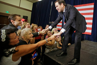 Senator Marco Rubio of Florida greeting supporters on Tuesday at an election party in Kissimmee for the state's Republican primary race.