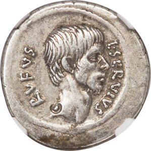 L. Servius Rufus (ca. 43 BC). AR denarius (19mm, 3.85 gm, 7h). NGC Choice VF★ 4/5 - 4/5, bankers mark