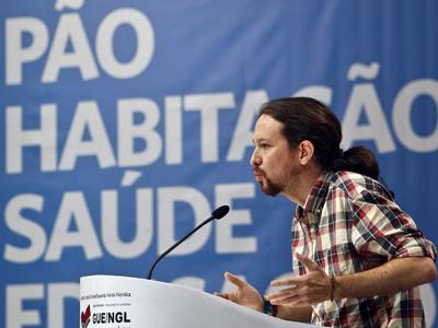 El líder de Podemos, Pablo Iglesias, durante su intervención en la IX convención del Bloque de Izquierdas portugués este fin de semana. EFE