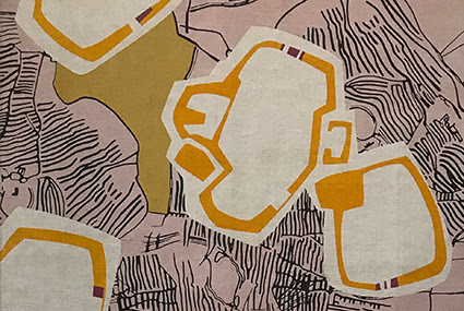 A close-up photograph of a textiles design by Eve Campbell. It has a pink background with purple line motifs, and features a solid yellow shape and white shapes with orange details.