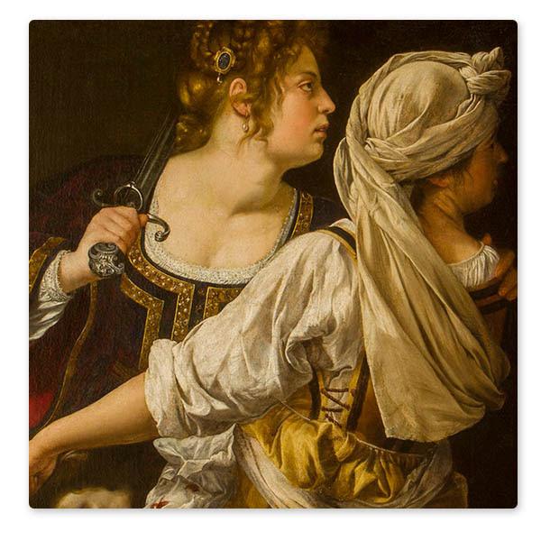 Detail from Artemisia Gentileschi, 'Judith and her Maidservant', about 1615-17. Galleria Palatina, Palazzo Pitti, Florence (398) © Gabinetto fotografico delle Gallerie degli Uffizi