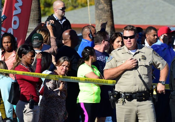 Near the scene of a shooting on Wednesday in San Bernardino, Calif.