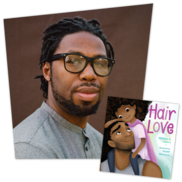 Photo of Matthew A. Cherry and the cover of the book Hair Love