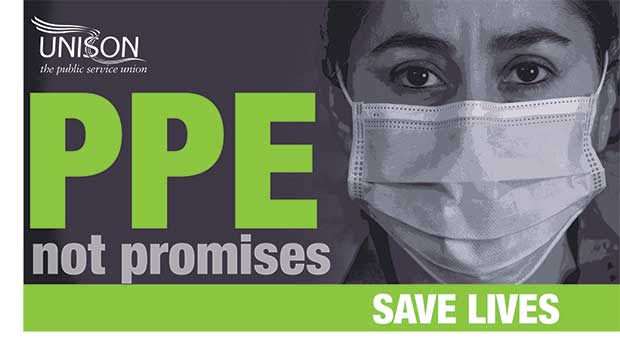 graphic featuring health worker wearing mask with the words