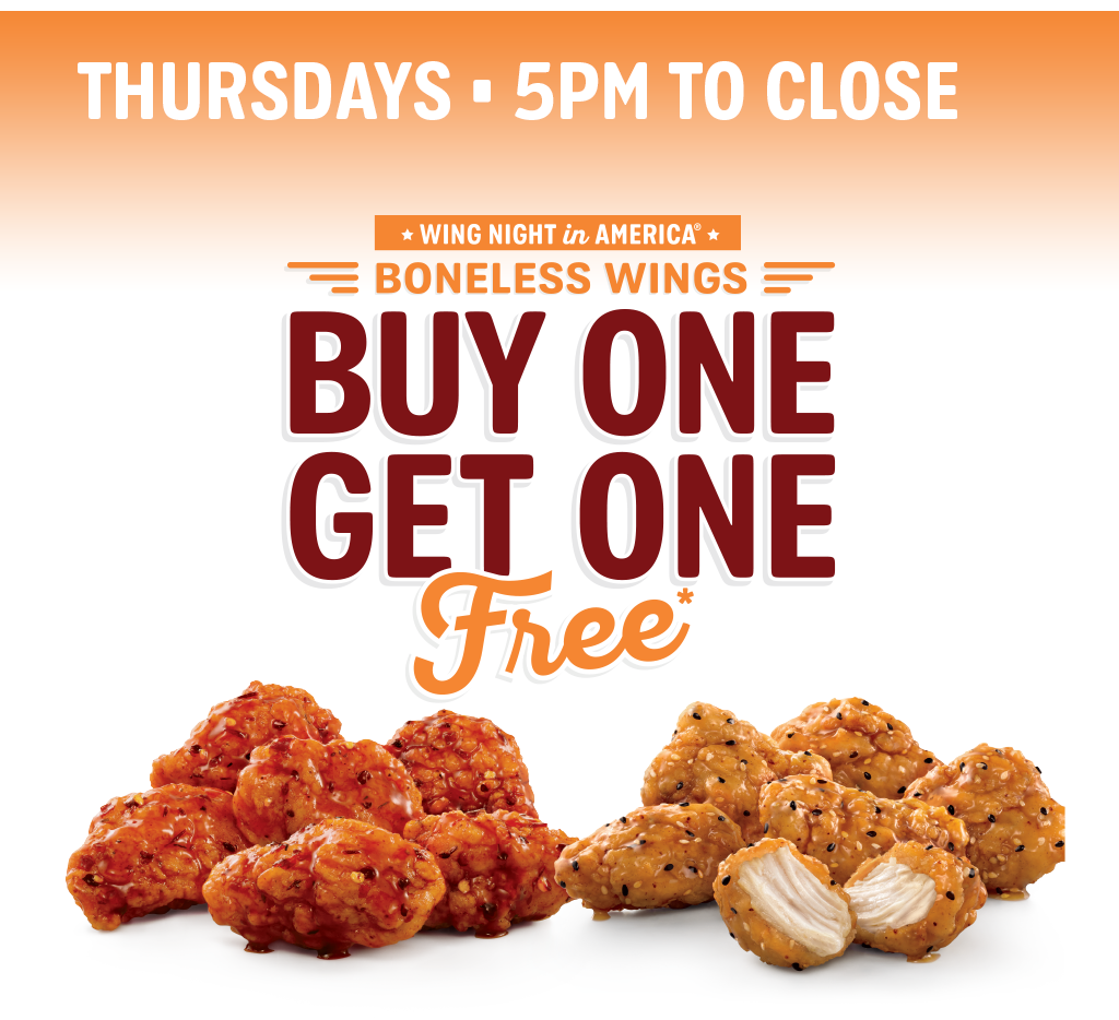 SONIC's boneless wings come in 6 flavors! Bonus: they're BOGO every Thursday.