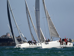 J/109s sailing Round Island Race- Isle of Wight, England