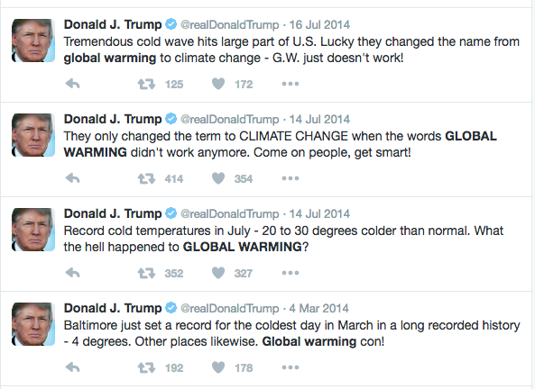 Image result for tweets trump climate change