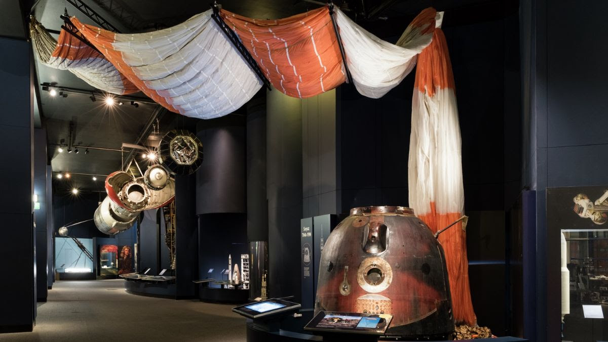Photograph of the Souez capsule in the Exploring Space gallery at the science museum.