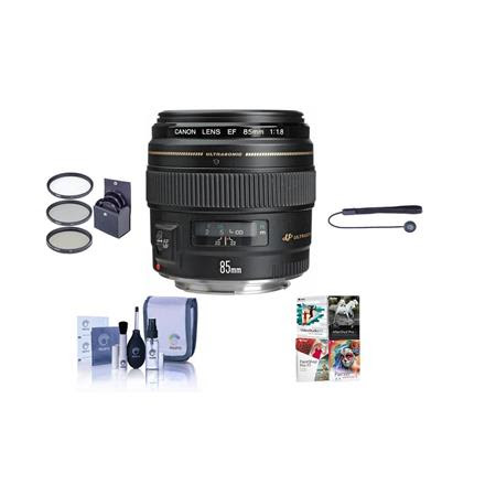 EF 85mm f/1.8 USM AutoFocus Telephoto Lens Kit, with 58mm Filter Kit (UV/CPL/ND2), Lens Ca