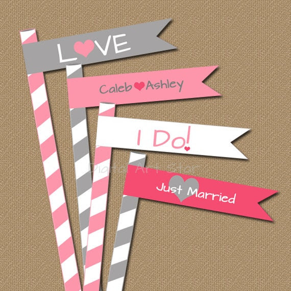Personalized Wedding Straw Flags - Modern Printable DIY Flags - Custom Wedding Colors - Bridal Shower