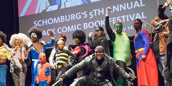 Attendees wearing costumes at last year's Schomburg Center Black Comic Book Festival