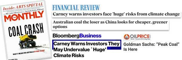 a collection of headlines about the coal price crashing