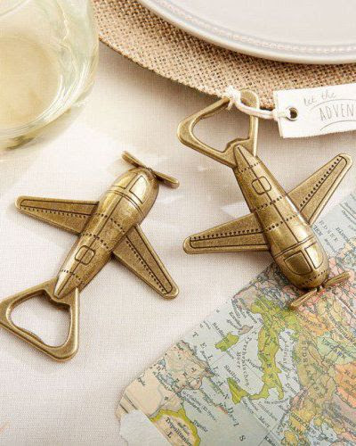 Invite wedding guests to fly away with you on a magical adventure with help from these airplane bottle openers!