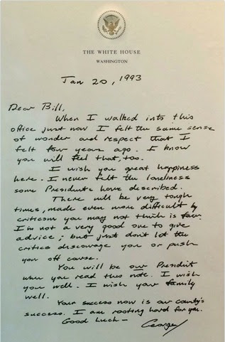 George H.W. Bush Bill Clinton Letter 3