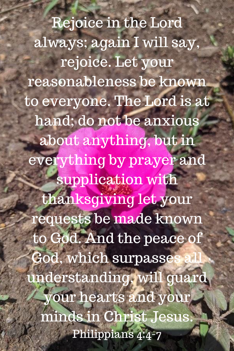 Rejoice in the Lord always; again I will say, rejoice. Let your reasonableness be known to everyone. The Lord is at hand; do not be anxious about anything, but in everything by prayer and supplication with than (1).png