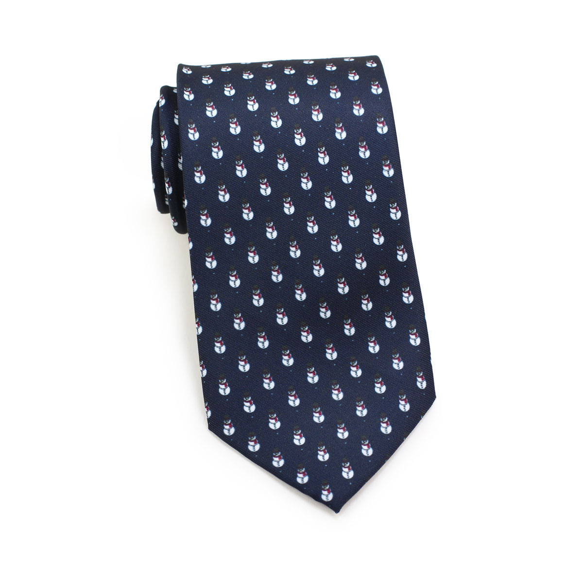 neckties with snowmen in navy blue