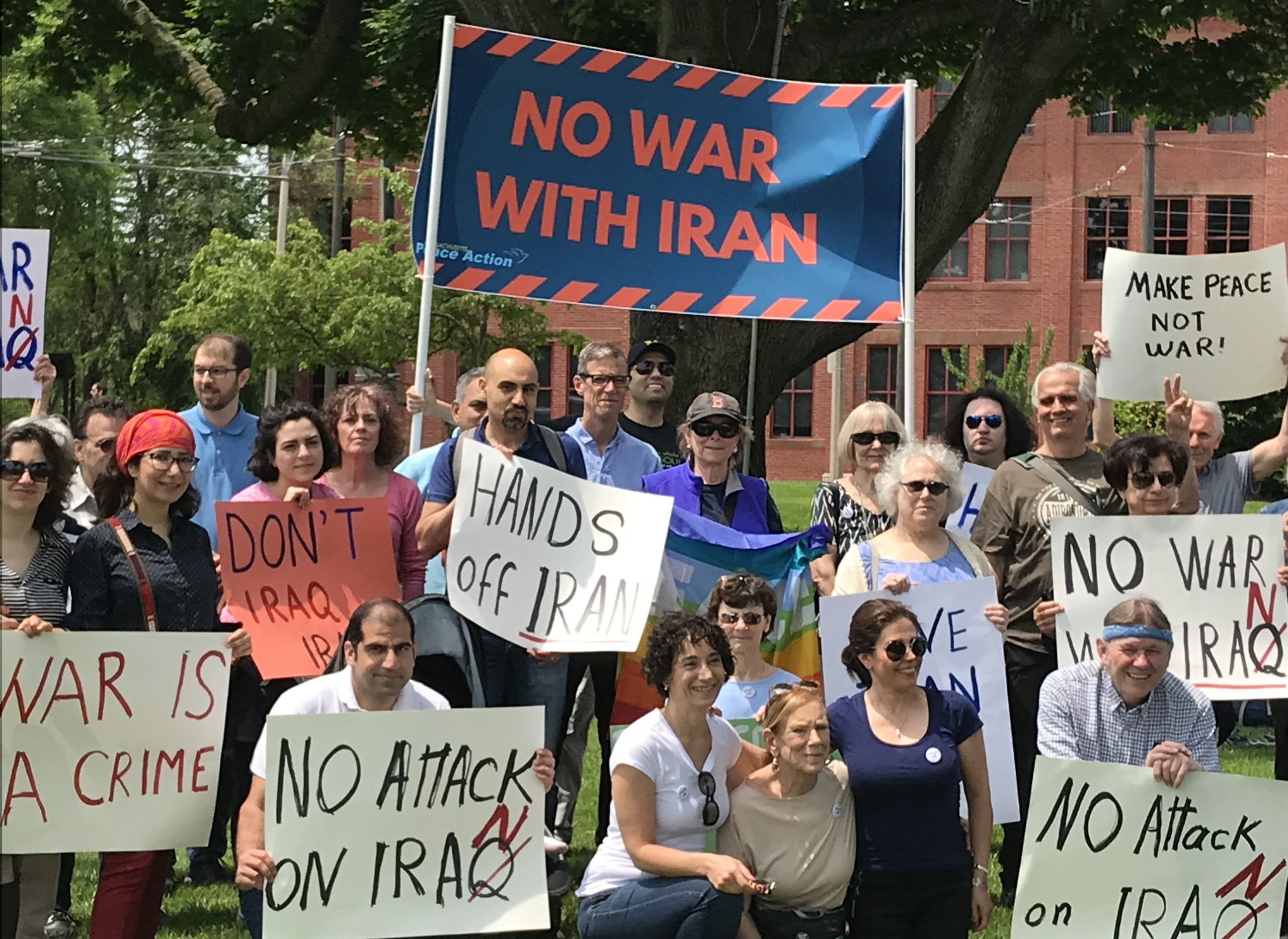 No War with Iran rally, June 2019, Watertown, MA