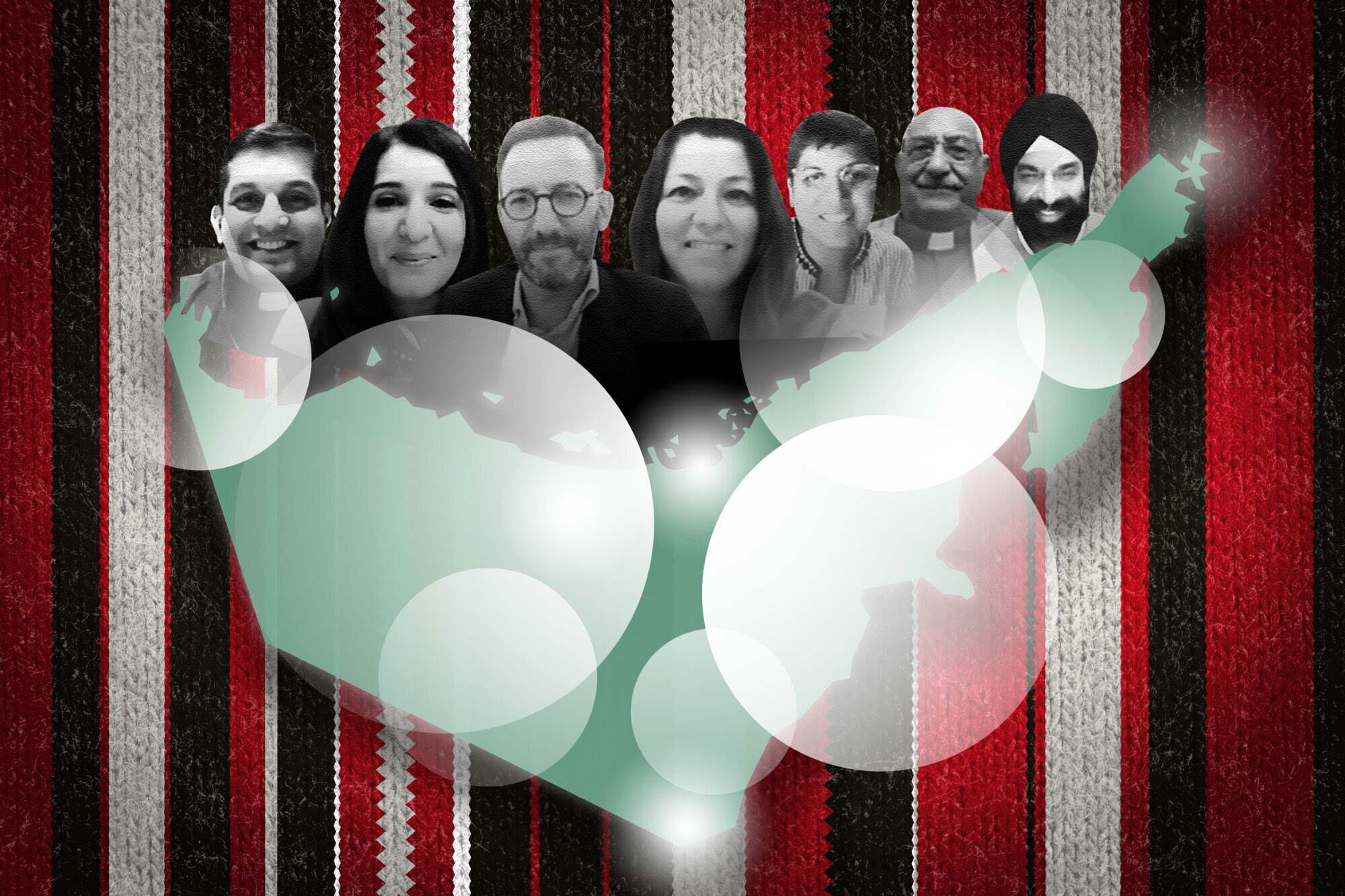 Illustration showing portraits of Emiratis of various faiths and map of the United Arab Emirates with bright circles around several locations, overlaid on background image of Emirati fabric.