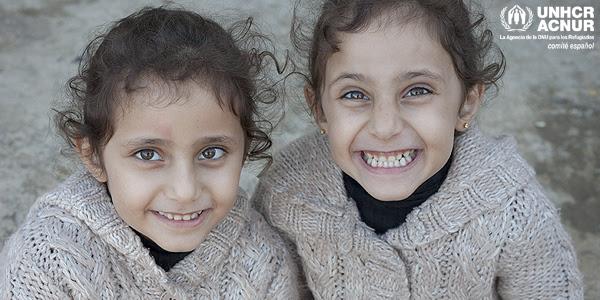 Gemelas refugiadas en Europa. Foto: ACNUR/G. Kyvernitis