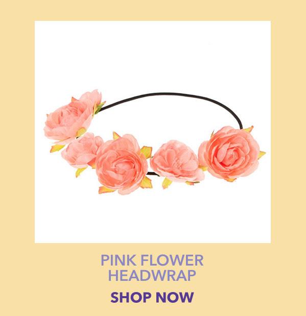 Pink Flower Headwrap