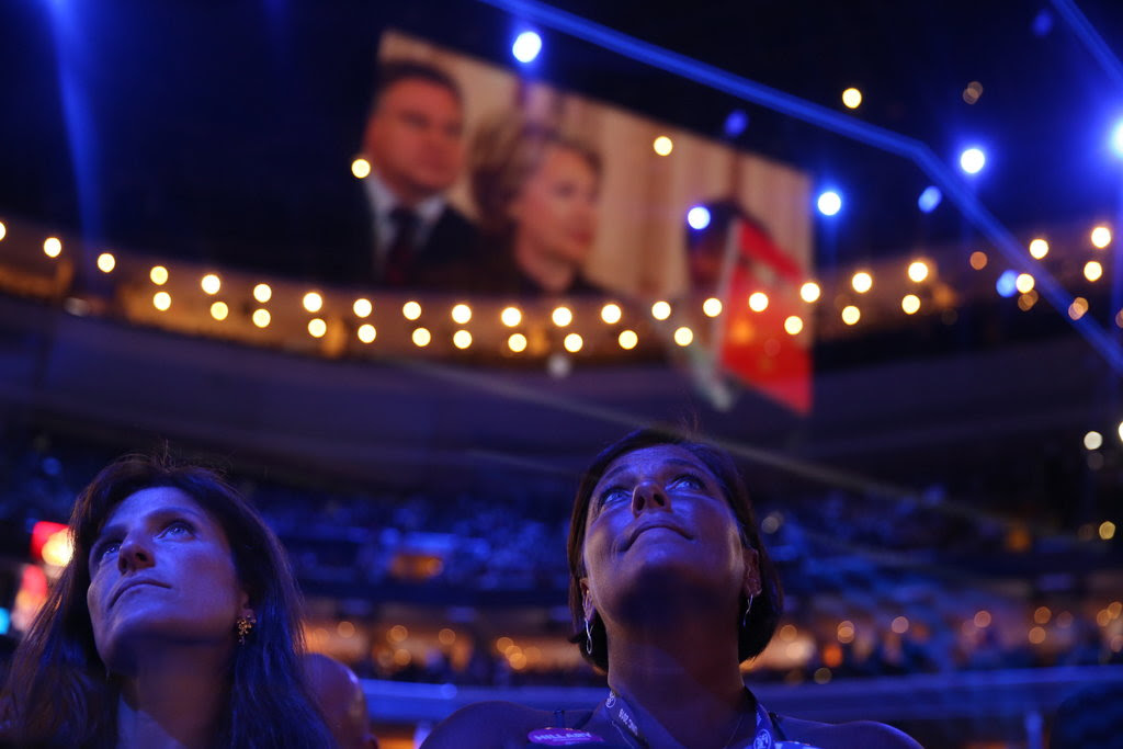 The crowd watching a video about Hillary Clinton on Tuesday, Day 2 of the Democratic National Convention in Philadelphia.