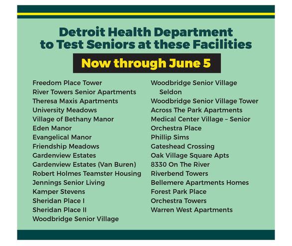 COVID Senior Test Locations through June 5