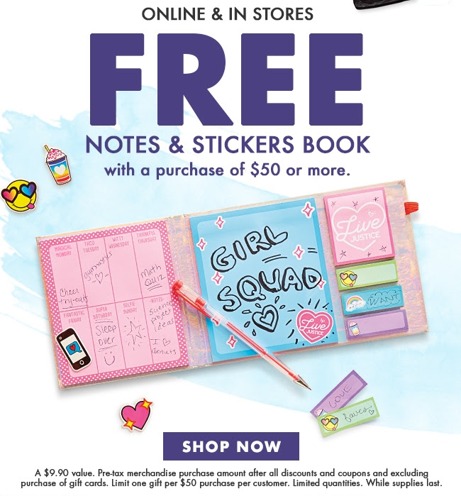Free Nots & Stickers Book With A Purchase Of $50 Or More!