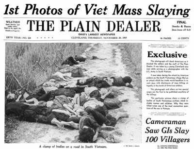 Plain Dealer front page reports mass killing of between 347 and 504 South Vietnamese civilians by U.S. Army soldiers on March 16, 1968