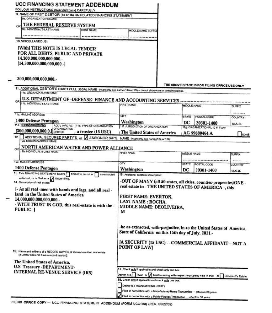 $14.3 Quadrillion Lien Taken Against All U.S. Land, Real Estate and People on July 28, 2011