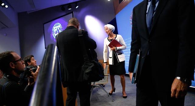 La directora gerente del FMI, Christine Lagarde, tras la rueda de prensa previa a la Asamblea Anual del organismo, en Washington.