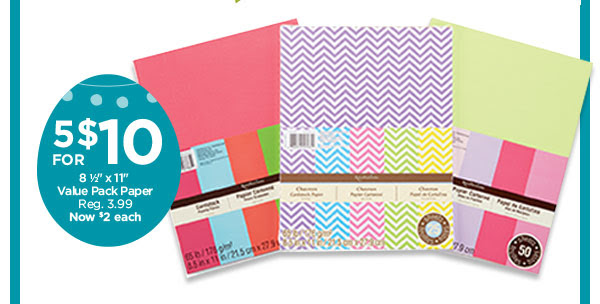 5 FOR $10 8½'' x 11'' Value Pack Paper. Reg. 3.99. Now $2 each