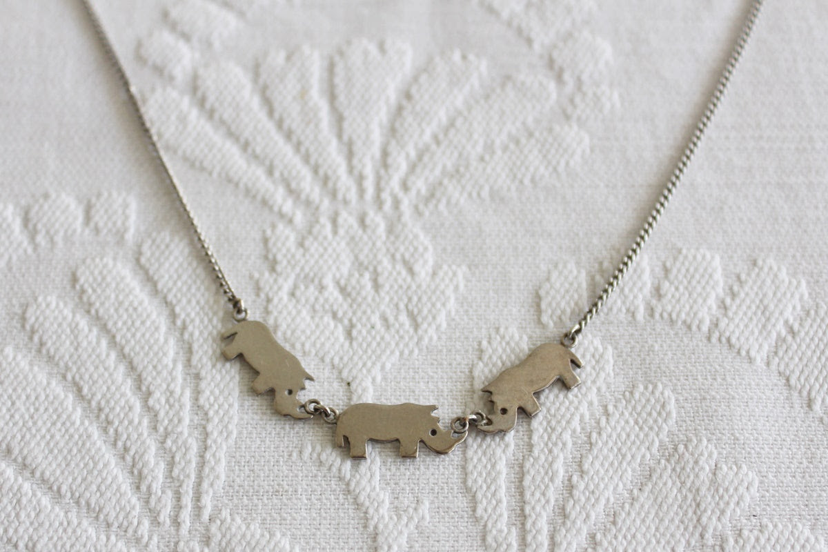 STERLING SILVER RHINO CHARM NECKLACE