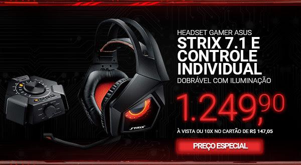 Headset Gamer Asus STRIX 7.1 Dobrável Com Iluminação lateral e Controle Individual