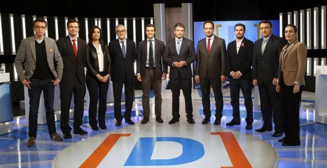 Los participantes del debate, antes del acto. EFE /Kiko Huesca