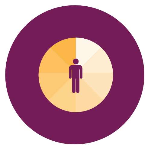 Pie chart icon with person icon at centre