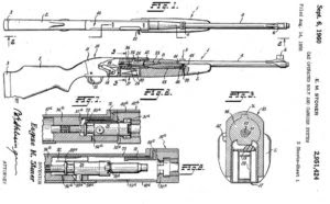 early Stoner patent for his version of the direct impingement gas system, with gas tube running to the side of the barrel