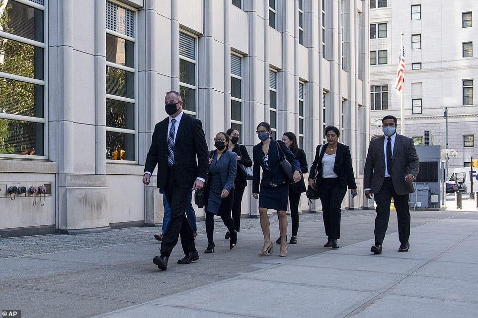 Prosecutors against R. Kelly arrive at the Brooklyn Federal Court House on Monday, Sept. 27, 2021