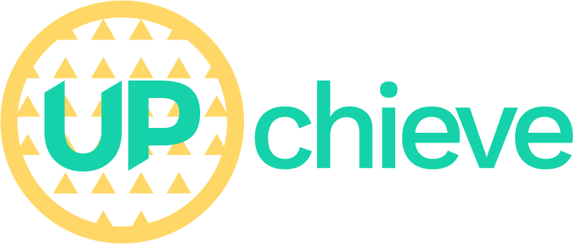 UPchieve yellow and mint green logo (combination mark)