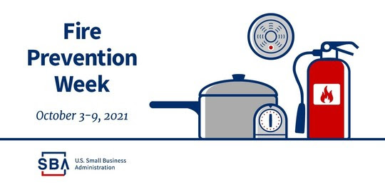 Illustration of a pot and fire extinguisher with the following text, Fire Prevention Week, October 3-9, 2021. The SBA logo is at the bottom.