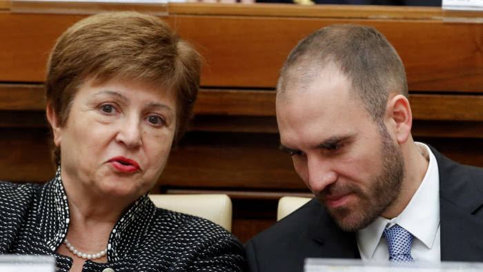 FILE PHOTO: IMF Managing Director Kristalina Georgieva and Argentina's Economy Minister Martin Guzman attend a conference hosted by the Vatican on economic solidarity, at the Vatican, February 5, 2020. REUTERS/Remo Casilli/File Photo