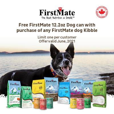 Purchase any FirstMate Dry Dog Food, and get a 12.2oz Dog Food Can FREE