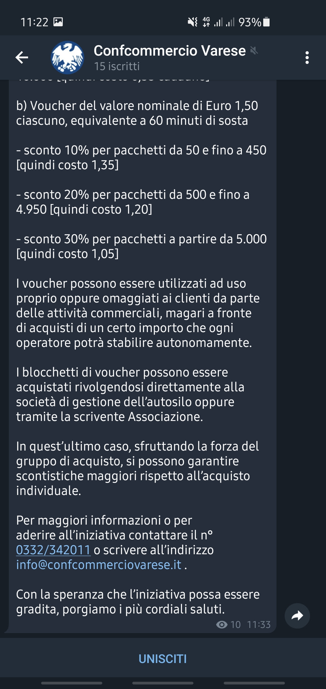 Telegram adesione gruppo Confcommercio